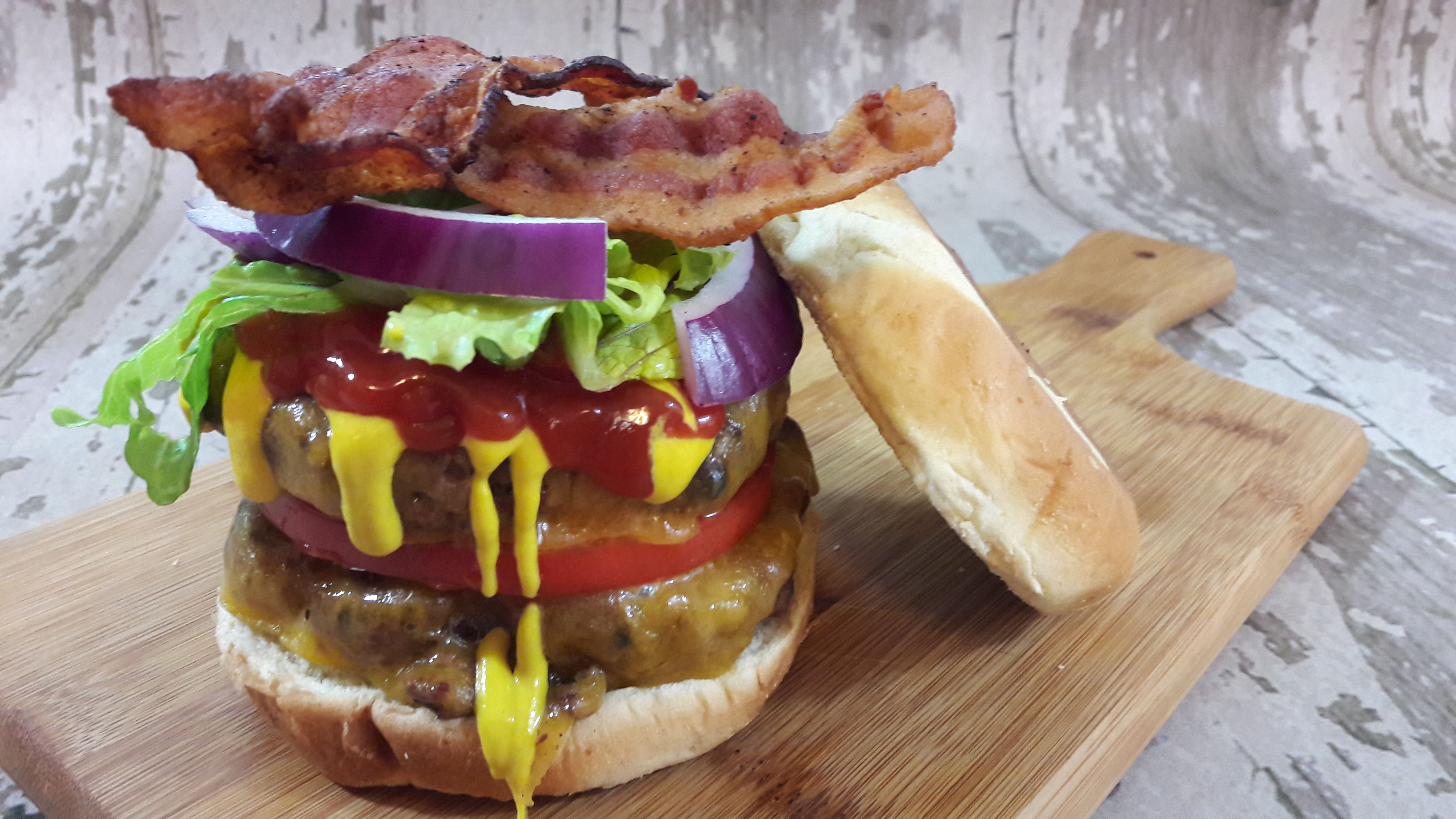 All American Bacon Double Cheeseburger - Average Guy Gourmet